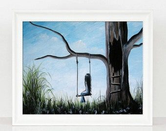 LAST ONE - Day Dreaming - Limited Edition Print - Art - Surrealism Art - Girl - Child - Sky - Art - Girl On Tree Swing - Summer Day Art
