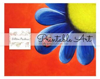 Flower Printable - Printable Art - Instant Download - Digital Art - 8x10 Printable - Blue Flower - Garden - Collage Sheet - Digi Stamps