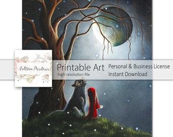 Digital Red Riding Hood - Printable Art - Instant Download - Digital Art - 8x10 Printable - Printable Paper - Business Ok - Fantasy Paper
