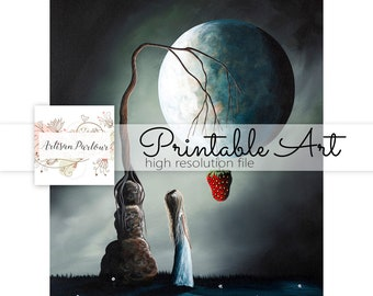 Art To Print - Gothic Printables - Art For Poems - Fantasy Art - Printable Art - Digi Files - Instant Download - Collage - Card - Strawberry