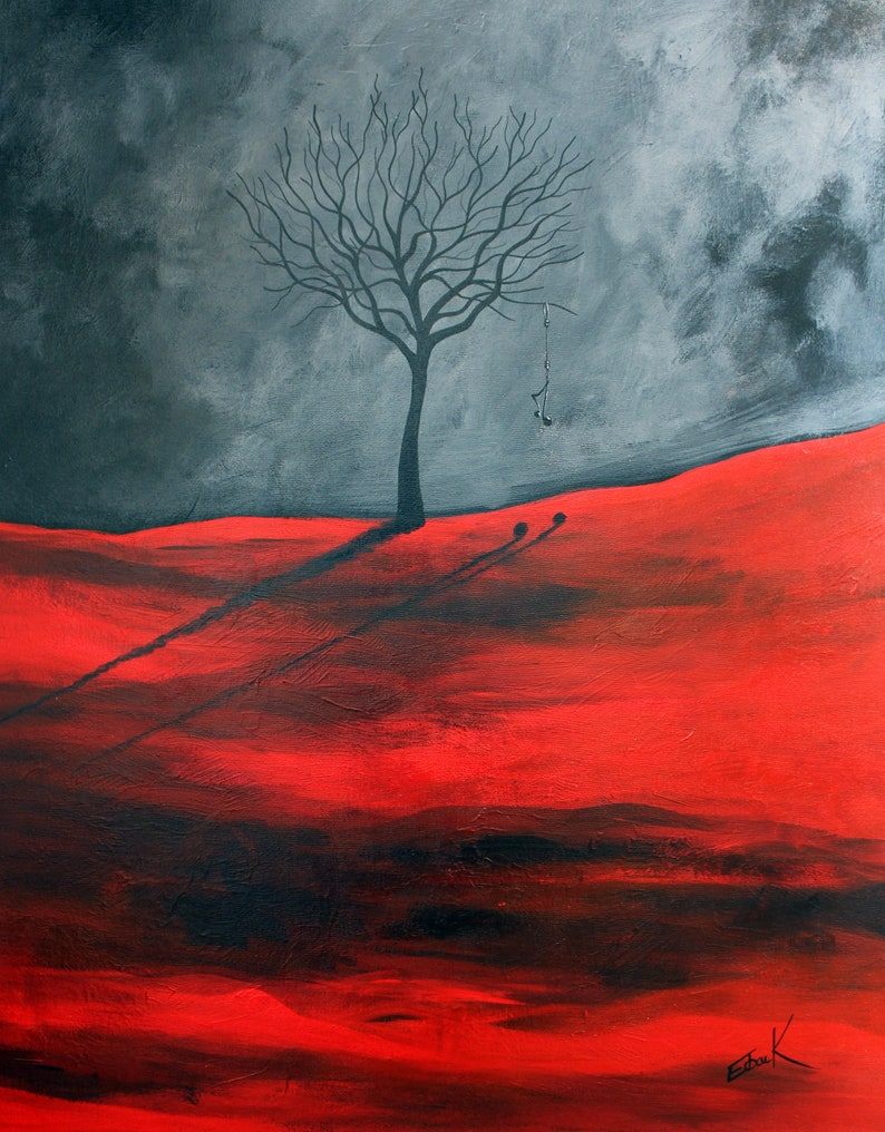 red and grey prints red landscape art original prints tree image 0