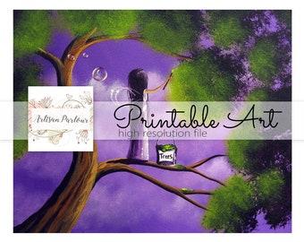 Printable Fairy Art -  Fairy Wall Art - Collage Sheets - Girl's Room Decor - Decor Idea - Instant Download - Colorful Art Prints - Purple