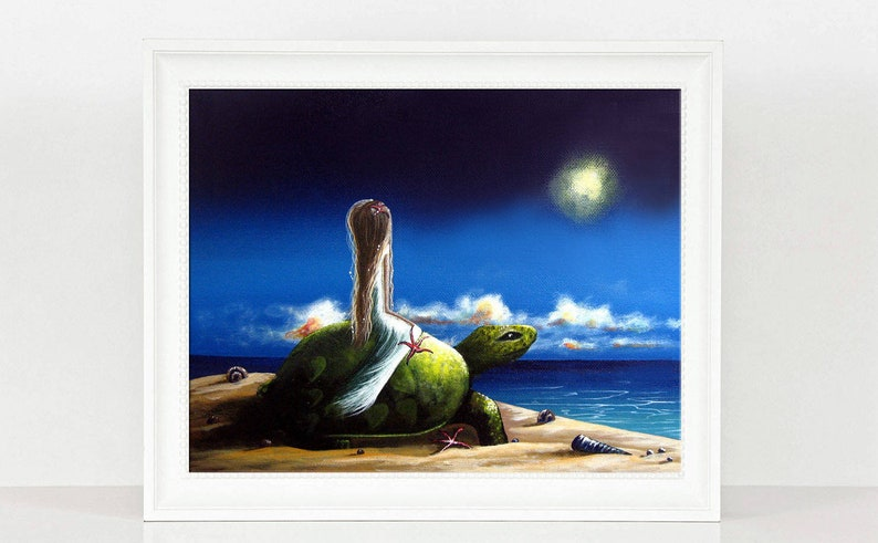 Sea Turtle Print Art Print Wall Art Seascape Art Fantasy Etsy