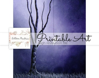 Purple Tree Download - Junk Journal Printables - Dreamy - Hearts - Instant Download - Print Yourself - Business Use Ok - Art For Poems