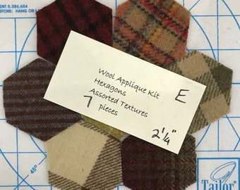 Wool Hexagons 2 1/4 inches E