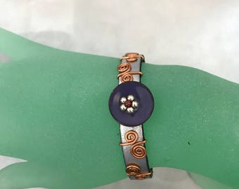 Leather and Copper Bracelet, Silver and Purple