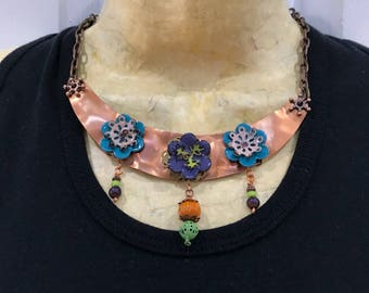 Copper Crescent Necklace with Enameled Flowers
