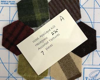 """Wool Hexagons, 2 1/4"""" A"""