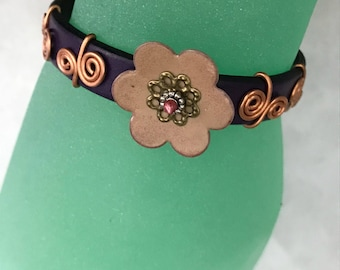 Leather and Copper Bracelet, Purple and Pink