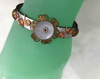 Leather and Copper Bracelet, Silver Bronze and Pale Blue