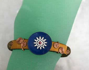 Leather and Copper Bracelet, Gold and Blue
