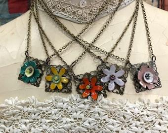 Filigree Pendant Necklace with Enameled Flower