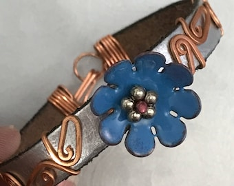 Leather and Copper Bracelet, Silver and Blue