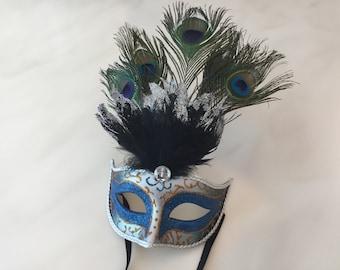 Blue Gold Silver Glitter Peacock Venetian Ribbon Mask