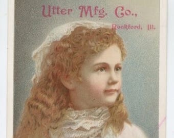 Victorian Trade Card - Farm Equipment Advertising - Pretty Girl - Late 1800s