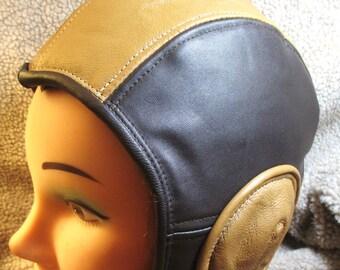 Retro Aviator Hat in Brown/ Saffron Leather, Soft Leather Flight Cap Steampunk