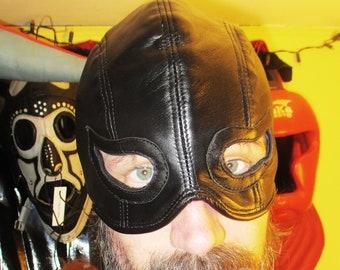Black Lambskin Leather Half Hood/ Mask with Cat Eyes, Fetish Cosplay Zorro Mask