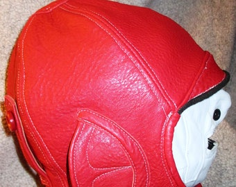Aviator/ Motoring Hat 1920s Style in Red Leather Unisex Style Earflap Leather Hat