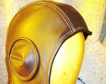 Retro Aviator Hat in Dark Brown Cowhide Leather w/ Suede Lining