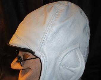 Aviator/ Motoring Hat 1920s Style in Light Gray Leather, Unisex Ear Flap Cap