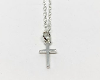 Mini Cross Necklace - Silver Cross Necklace - Small Cross Charm Necklace