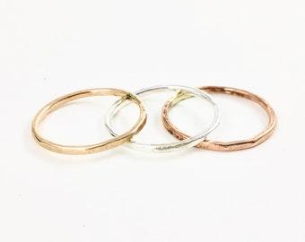 Yellow Gold Stacking Rings Rose Gold Stacking Rings Sterling Silver Stacking RIngs Gold Stacking RIng Silver Stacking Ring