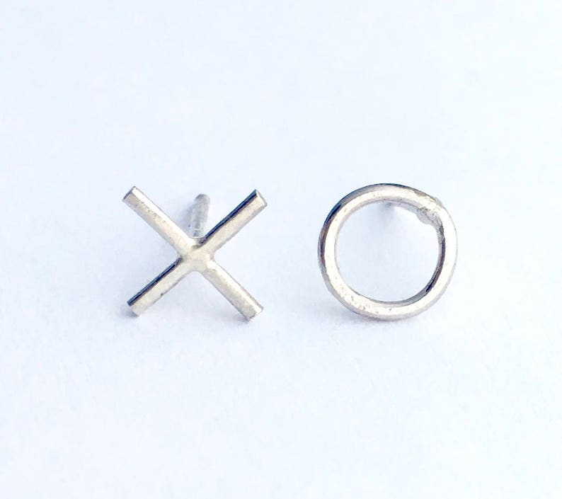 Sterling Silver Love Mini XO Hugs and Kisses Stud Earring Valentine Gift