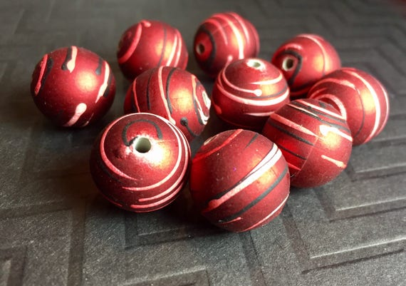 10 Matte Red Rubberized Coating 26mm Round Acrylic Beads