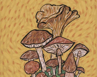 Mushrooms Original Painting or Giclee Art Print Watercolor Ink Acrylic Paint Mushroom Fungi Wall Artwork Bret Pendlebury Mycelium Fungus Art