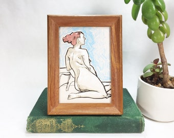 Portrait Nude Figure Model Mini Giclee Art Print in a Vintage wood frame Framed Home Decor Wall Hanging Artwork Painting Gift Interior Art