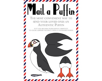 """Puffin Postcards, Set of 8 """"Mail a Puffin"""" Postcards"""