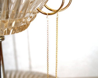 14kt Gold Hoop Earrings with Genuine Sapphire Drops