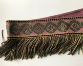 Early 1900s Antique Vintage Upholstery Bullion Fringe Fringed Trimming Woven Cotton Jacquard Purple Mauve Green Gold