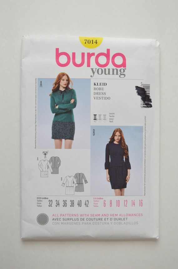 2000s UNCUT Burda Young Sewing Pattern 7014 Long Sleeve | Etsy