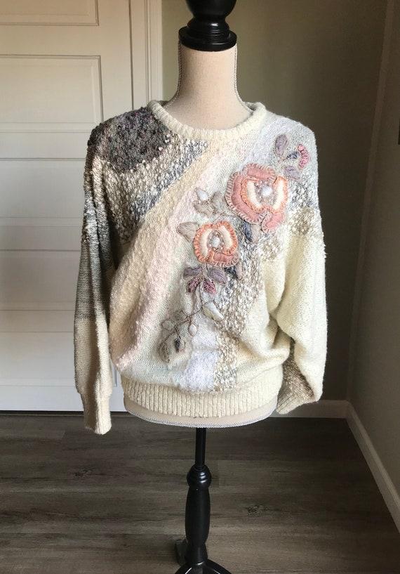 80s Vintage Carducci Textured Knit Sweater / Flowe