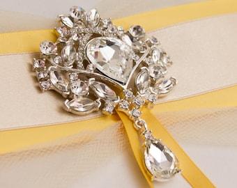 Rhinestone Brooch, Large Crystal Brooch , Wedding Broach for DIY Wedding Projects, Brooch Bouquet Supplies, Bridal Sash Pin