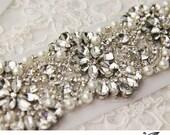 """Swarovsky Crystal applique, rhinestone applique, wedding sash applique, beaded crystal applique, DIY wedding sash 15"""" long"""
