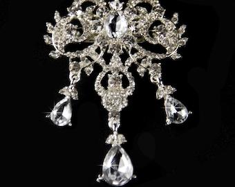 Rhinestone brooch crystal brooch broach for DIY wedding projects, brooch bouquet supplies, clear silver brooch, crystal broach