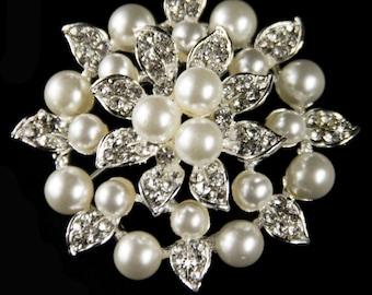 Large Pearl Brooch Rhinestone Crystal Brooch Wedding Broach for DIY Wedding Projects, Brooch Bouquet Bridal Sash Pin Wedding Cake Decor