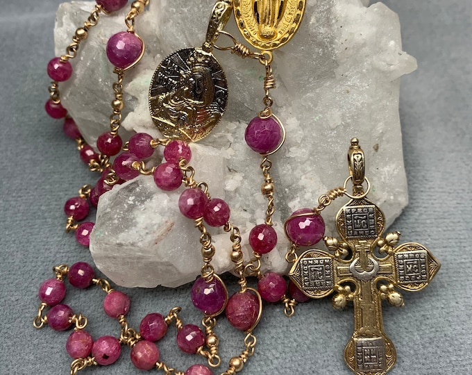 Featured listing image: Pink Sapphire Rosary 14k Gold Unbreakable Wire Wrap Ultimate HeartFelt Rosaries