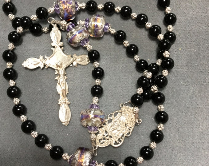 Featured listing image: Onyx Rosary Black Sterling Silver Lampwork Glass Cable HeartFelt Rosaries
