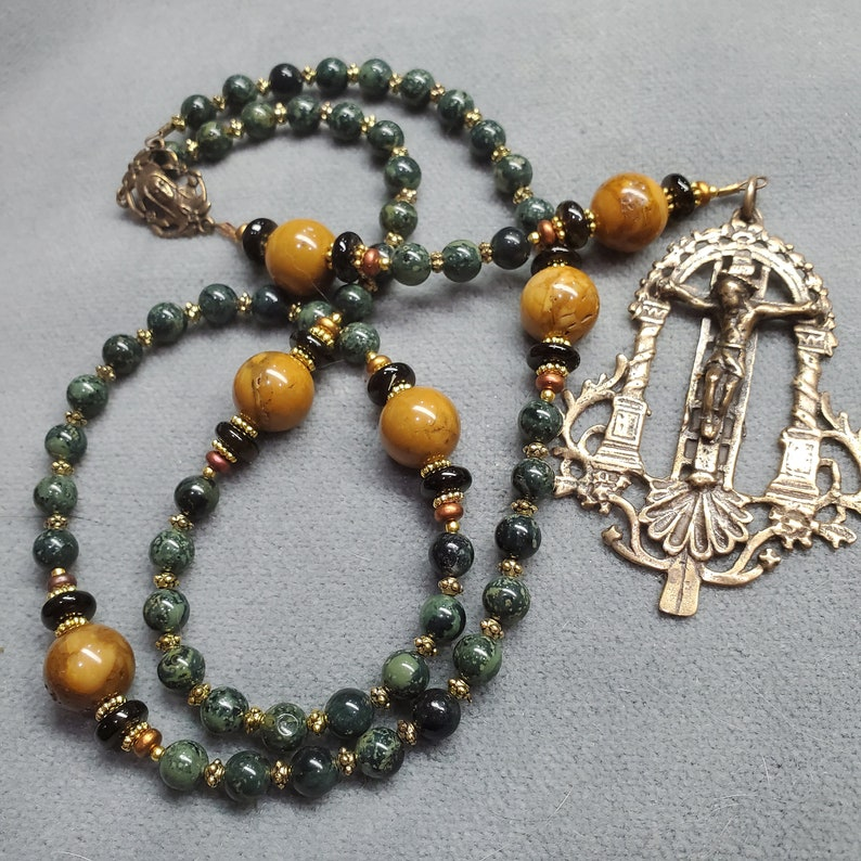 Heirloom Handmade Rosary Unique Crucifix Bronze Green image 0