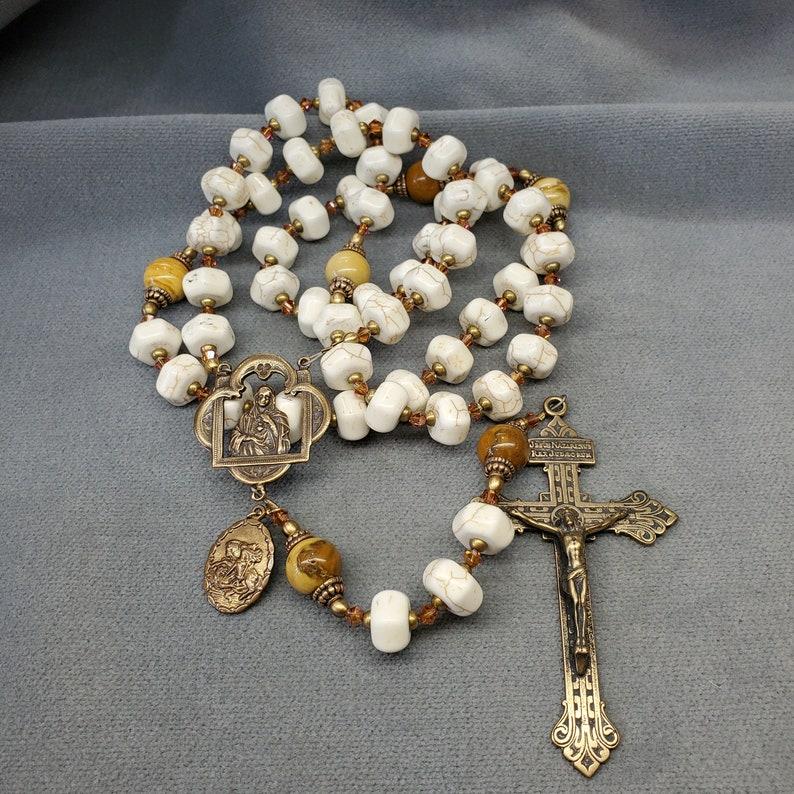 Large White Turquoise Rosary Ivory Jasper Bronze Swarovski image 0