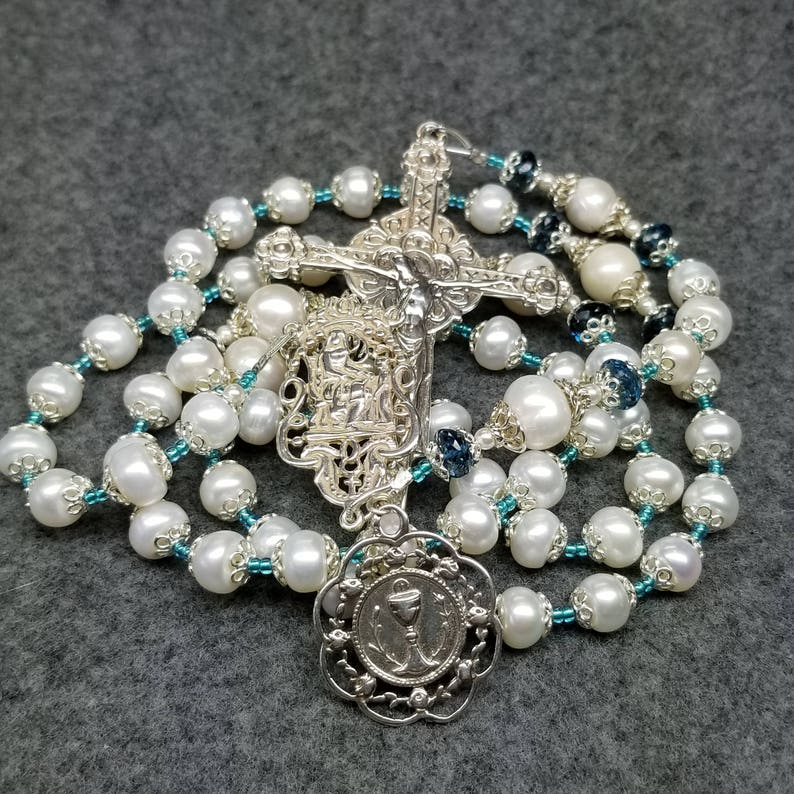 Pearl London Blue Topaz Rosary Sterling Silver Heirloom image 0