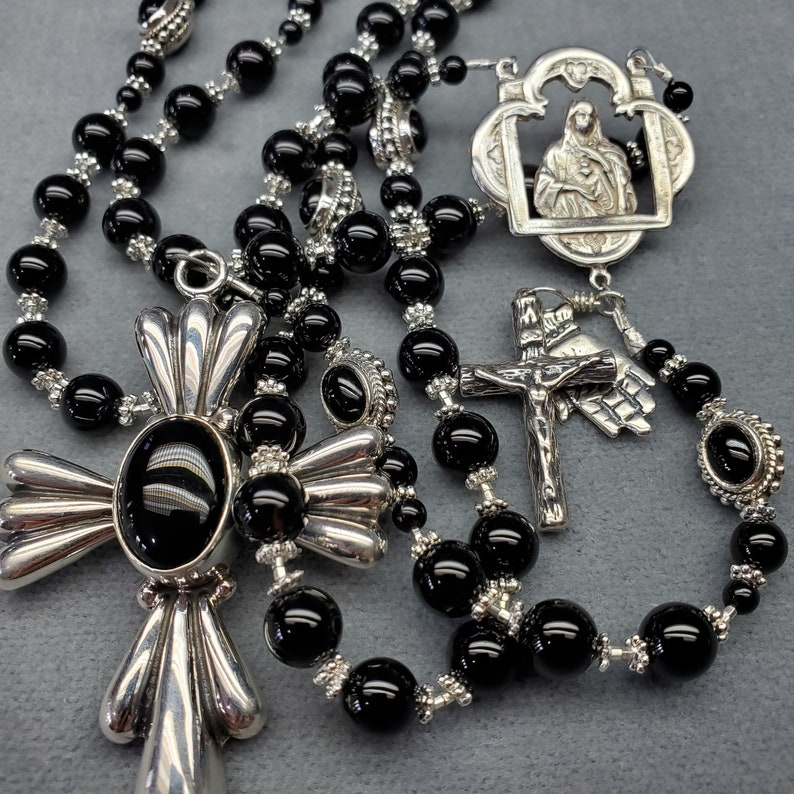 Ultimate Black Onyx Rosary Sterling Silver Heirloom Handmade image 0