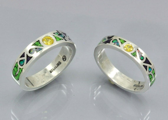 Matching Set Of Mosaic Inlay Gaspeite and Yellow Sapphires in Sterling Silver Frendship Rings Australian Opal Sugilite