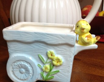 Baby Blue Flower Cart Planter Vase with Yellow Bird!