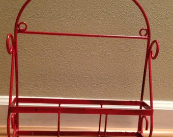 Vintage Chippy Red Metal Wall Rack - Bathroom, Kitchen, Laundry - works everywhere!