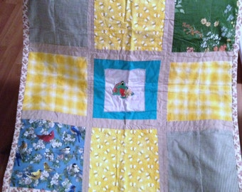 Handmade Lap/Baby Quilt - Frog and Bees!