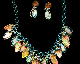 Boho Hippie Asian Indian hand painted brass chain necklace earrings set